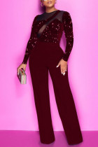 Burgundy Sexy Solid Split Joint See-through  Sequins O Neck Straight Jumpsuits