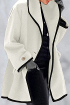 White Fashion Casual Solid Split Joint Turndown Collar Outerwear