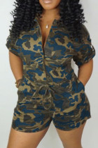 CamoBlue Fashion Casual Rompers