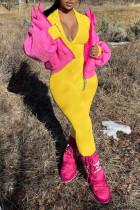 Yellow Casual Solid Split Joint Zipper Regular Jumpsuits