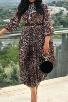 Leopard Print Casual Print Bandage Split Joint Fold A Line Dresses