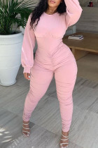Pink Casual Solid Split Joint Fold O Neck Regular Jumpsuits