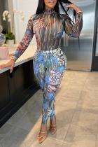 Multicolor Casual Street Print Split Joint Half A Turtleneck Skinny Jumpsuits