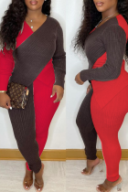 Red Sexy Solid Split Joint V Neck Long Sleeve Two Pieces