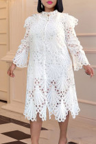 White Sexy Solid Hollowed Out Split Joint Buckle Flounce O Neck A Line Dresses