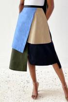 Turquoise Fashion Casual Geometric Split Joint Regular High Waist Skirt