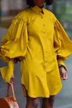 Yellow Fashion Casual Solid Asymmetrical Turndown Collar Shirt Dress