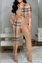Khaki Casual Print Split Joint Turndown Collar Long Sleeve Two Pieces