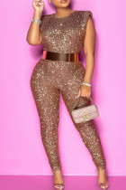 Light Brown Fashion Solid Sequins O Neck Plus Size Sleeveless Jumpsuits (Without Belt)