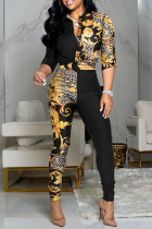 Yellow Casual Print Split Joint Turndown Collar Long Sleeve Two Pieces