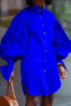 Blue Fashion Casual Solid Asymmetrical Turndown Collar Shirt Dress