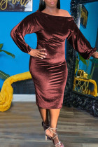 Brown Sexy Solid Split Joint Off the Shoulder One Step Skirt Dresses