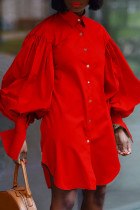 Red Fashion Casual Solid Asymmetrical Turndown Collar Shirt Dress