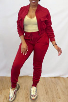 Burgundy Casual Solid Split Joint Zipper Collar Long Sleeve Two Pieces