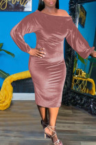 Pink Sexy Solid Split Joint Off the Shoulder One Step Skirt Dresses