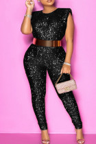 Black Fashion Solid Sequins O Neck Plus Size Sleeveless Jumpsuits (Without Belt)