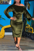 Green Sexy Solid Split Joint Off the Shoulder One Step Skirt Dresses