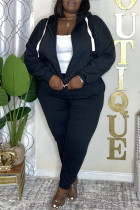 Black Fashion Casual Solid Cardigan Pants Hooded Collar Plus Size Two Pieces