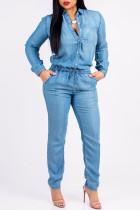 Blue Fashion Casual Solid Split Joint Turndown Collar Regular Jumpsuits