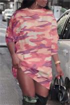 Pink Fashion Casual Camouflage Print Basic O Neck Long Sleeve Dresses