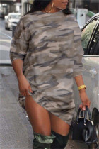 Camouflage Fashion Casual Camouflage Print Basic O Neck Long Sleeve Dresses