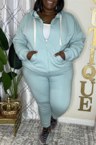 Light Blue Fashion Casual Solid Cardigan Pants Hooded Collar Plus Size Two Pieces