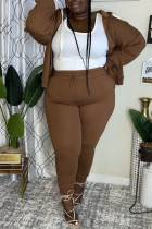 Coffee Fashion Casual Solid Cardigan Pants Hooded Collar Plus Size Two Pieces
