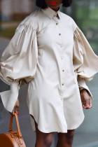 Cream White Fashion Casual Solid Asymmetrical Turndown Collar Shirt Dress