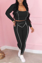Black Casual Solid Split Joint Zipper U Neck Long Sleeve Two Pieces