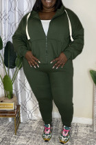 Green Fashion Casual Solid Cardigan Pants Hooded Collar Plus Size Two Pieces