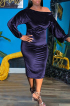 Deep Blue Sexy Solid Split Joint Off the Shoulder One Step Skirt Dresses