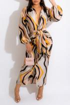 Apricot Casual Print Split Joint Buckle With Belt Turndown Collar Shirt Dress Dresses