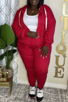 Red Fashion Casual Solid Cardigan Pants Hooded Collar Plus Size Two Pieces