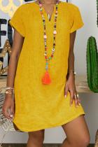 Yellow Fashion Casual Solid Split Joint V Neck Lantern Skirt Dresses