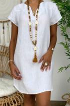 White Fashion Casual Solid Split Joint V Neck Lantern Skirt Dresses