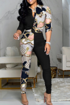 Black And White Casual Print Split Joint Turndown Collar Long Sleeve Two Pieces