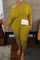 Yellow Fashion Casual Solid Basic O Neck Long Sleeve Two Pieces