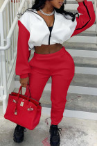 Red Casual Solid Split Joint Hooded Collar Long Sleeve Two Pieces