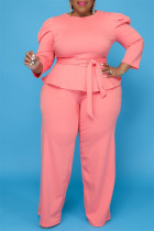 Pink Fashion Casual Solid Bandage O Neck Plus Size Two Pieces