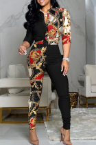 Red Black Casual Print Split Joint Turndown Collar Long Sleeve Two Pieces