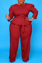 Burgundy Fashion Casual Solid Bandage O Neck Plus Size Two Pieces