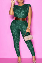 Green Fashion Solid Sequins O Neck Plus Size Sleeveless Jumpsuits (Without Belt)