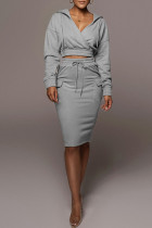 Grey Casual Solid Split Joint Pocket Hooded Collar Long Sleeve Two Pieces