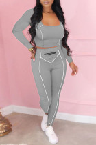 Grey Casual Solid Split Joint Zipper U Neck Long Sleeve Two Pieces