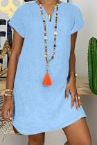 Baby Blue Fashion Casual Solid Split Joint V Neck Lantern Skirt Dresses