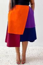 Orange Red Fashion Casual Geometric Split Joint Regular High Waist Skirt