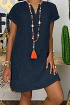 Dark Blue Fashion Casual Solid Split Joint V Neck Lantern Skirt Dresses