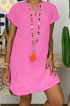 Pink Fashion Casual Solid Split Joint V Neck Lantern Skirt Dresses