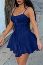 Blue Fashion Sexy Solid Split Joint Backless Spaghetti Strap Denim Dress