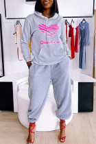 Grey Casual Print Split Joint Hooded Collar Long Sleeve Two Pieces